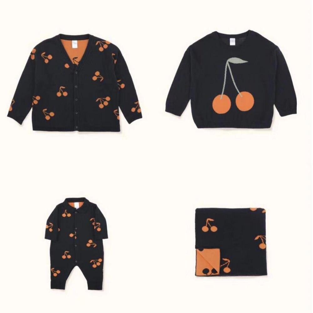 BOBOZONE 2018 F/W Cherries Cardigan Sweater Romper Blanket for kids baby boys girlsBOBOZONE 2018 F/W Cherries Cardigan Sweater Romper Blanket for kids baby boys girls