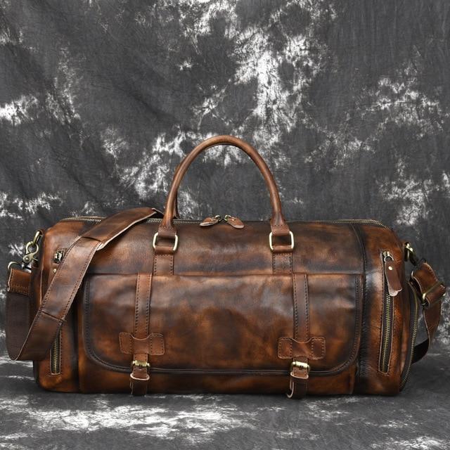 Johnature 2020 New Genuine Leather Vintage Large Capacity Solid Travel Totes Men Travel Bags Duffle Bag Handbags&Crossbody Bags 3