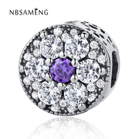 Authentic 925 Sterling Silver Bead Charm Blooms Purple With Crystal Beads Fit Pandora Bracelets & Bangles Luxury DIY Jewelry