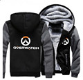 USA size Men Women Game OW Logo Zipper Jacket Cosplay Sweatshirts Thicken Hoodie Coat Clothing Casual