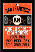 SF giants World Series Champions MLB Flag 3×5 FT 150X90CM Banner 100D Polyester Custom flag grommets 6038, free shipping