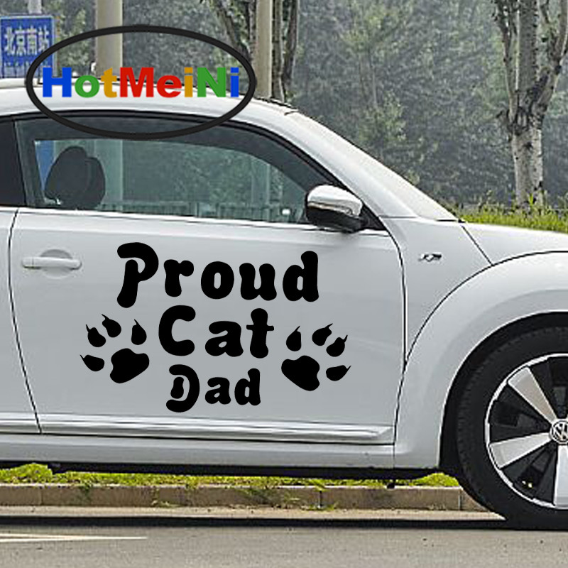 HotMeiNi 2 X Proud Cat Dad Pet Passing Left Unique Footprints Car Sticker Truck SUV Door Side Window Kayak Vinyl Decal 9 Colors hotmeini car sticker jdm body decorative side door suv decal reflective van fridge 2 pcs punisher military army star 50 50cm