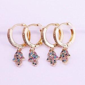 Image 4 - 5 paires mélange Style or rempli arc en ciel CZ zircone pavé hamsa main/croissant boucle doreille pendante, mode femmes bijoux délicats