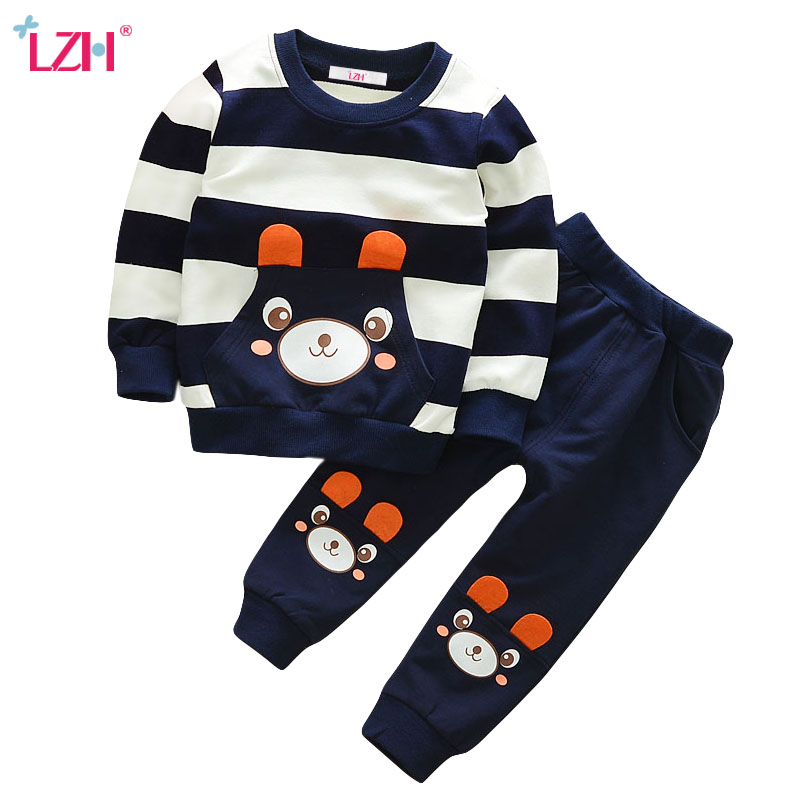 LZH Children Clothing 2018 Autumn Wintet Baby Boys Clothes Set T-shirt+Pants 2pcs Outfits Kids Clothes Toddler Boys Sport Suit 2pcs children outfit clothes kids baby girl off shoulder cotton ruffled sleeve tops striped t shirt blue denim jeans sunsuit set