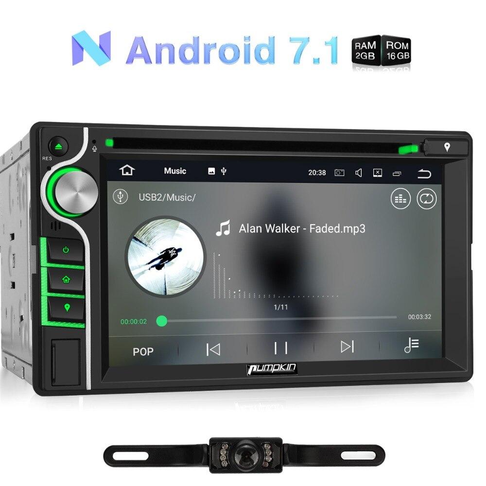 Citrouille 2 Din 6.2 ''Android 7.1 Universal Lecteur DVD de Voiture GPS Navigation Quad-core Voiture Stéréo Écran Tactile FM AM Radio Headunit