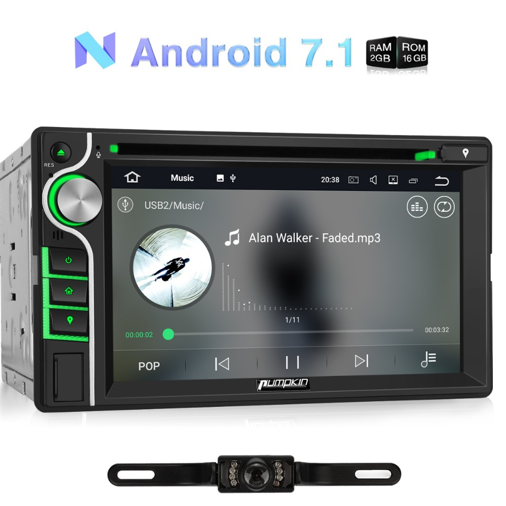 Pumpkin 2 Din 6.2''Android 7.1 Universal 2G+16G Quad core Car Stereo Audio DVD Player GPS Navigation Wifi OBD2 Radio Headunit