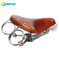 Retro Leather Bicycle Saddle Three spring seat saddle Ordinary Bike Common Cycling Accessories