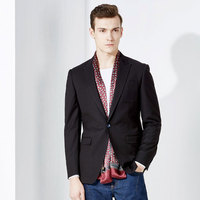 Brand men clothing fashion 2016New slim fit men black blazers casual suit coat single button business costumes for men blazer