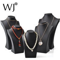 Black PU Leather Jewelry Display Bust Model Pendants Pearl Necklaces Neck Forms Presentation Stand Holder Rack
