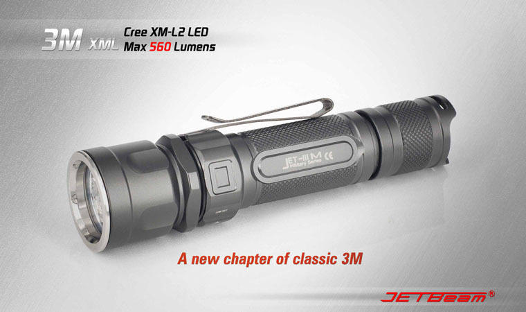 Free Shipping Original JETBEAM 3M Cree XM-L2 LED 560 lumens flashlight daily EDC torch Compatible with CR123 18650 battery lumintop tactical flashlight p16x 18650 flashlight with battery with cree xm l2 led torch type max670 lumens