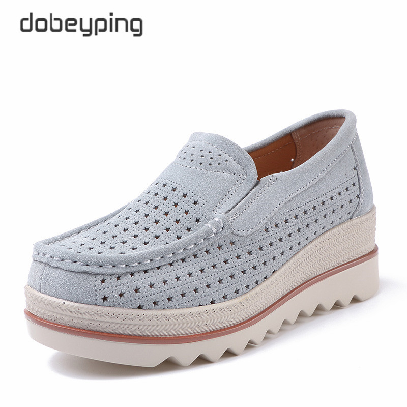 dobeyping Spring Summer Shoes Woman Fashion Wedges Women Shoes Slip On Women's Loafers Moccasins Female Shoe Suede Leather Flats