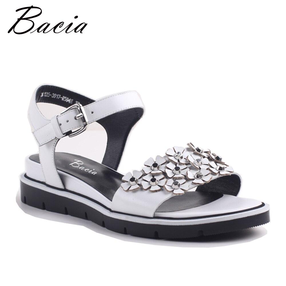 Bacia Для женщин босоножки из натуральной кожи модные женские туфли без каблука Сандалии для девочек Gril летние Обувь дамы Сандалии для девоче...