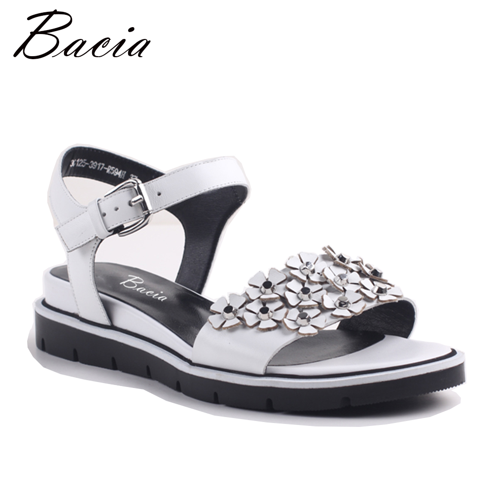 Bacia Women Genuine Leather Sandals Fashion Women Flat Sandals Gril Summer Shoes Ladies Sandals Girls Floral White Shoes MC001 mvvjke summer women shoes woman genuine leather flat sandals casual open toe sandals women sandals