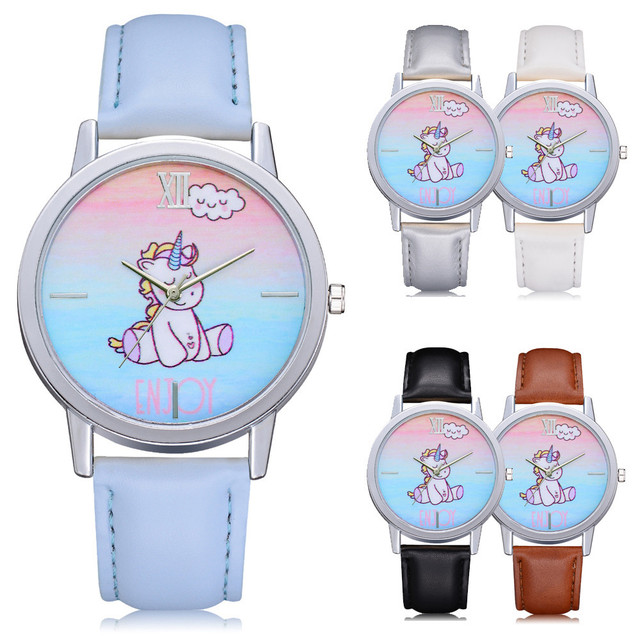 Hot Sale Women's Clocks Unicorn Design Fashion Cute Animal Girls Leather Band An