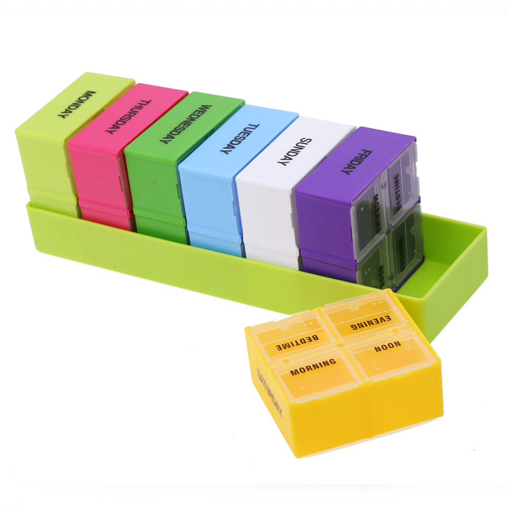 Portable Pill Box Weekly 7 Day medicine box Holder 28 Slot Folding Vitamin Medicine Health Care Pill Cases less medicine more health