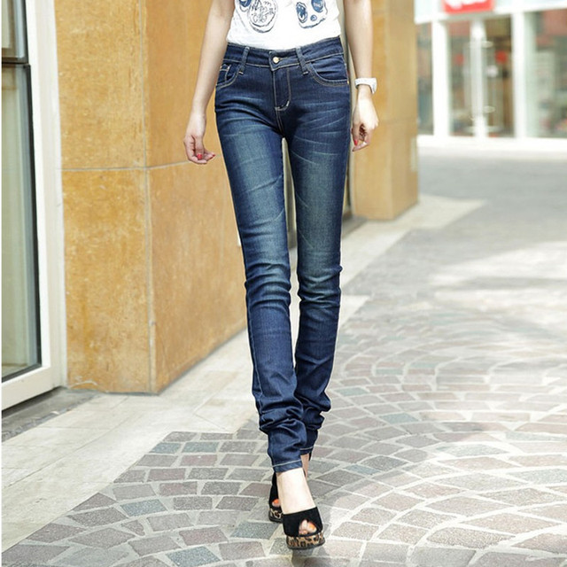 Free Shipping 2017 New Fashion Long Pants For Tall Women Spring Plus Size 26-40 Jeans Pants Pencil Trousers Stretch Ladies Pants