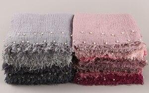 Image 4 - 10 Cái/lốc Cotton Khăn Hạt Bong Bóng Ngọc Trai Nhăn Khăn Choàng Hijab Viền Nát Hồi Giáo Khăn Choàng/Khăn 55 Màu