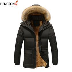 Большие размеры 5XL Мужская парка пальто новая зимняя флисовая куртка мужская Тонкая утепленная с капюшоном меховой воротник верхняя