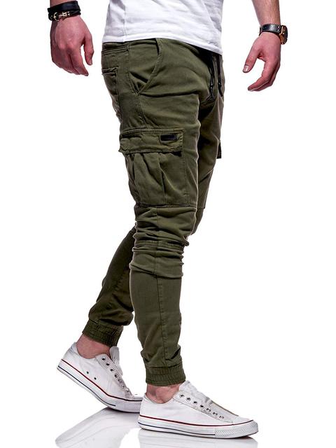 pants slim solid color multi-pocket embellishment men's casual pants men's pants designer men's jogger