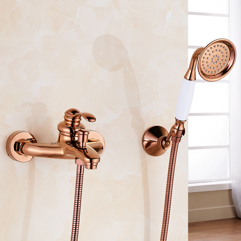Cold and Hot Bathtub Faucet With Hand Held Shower Head Brass Gold Rose Golden Plate Bathroom Shower Faucet Set Mixer Tap SF1034 shinesia newly luxury gold polished brass 5pcs bathroom bathtub faucet swan spout with hand shower mixer 3 handles hot and cold