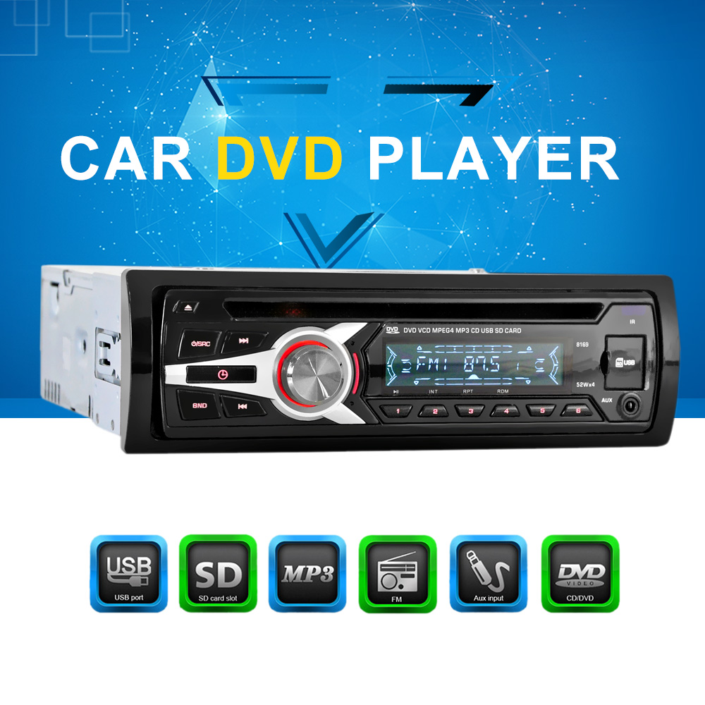 universal car stereo radio audio player cd dvd mp3 player with fm aux input sd usb port in car. Black Bedroom Furniture Sets. Home Design Ideas