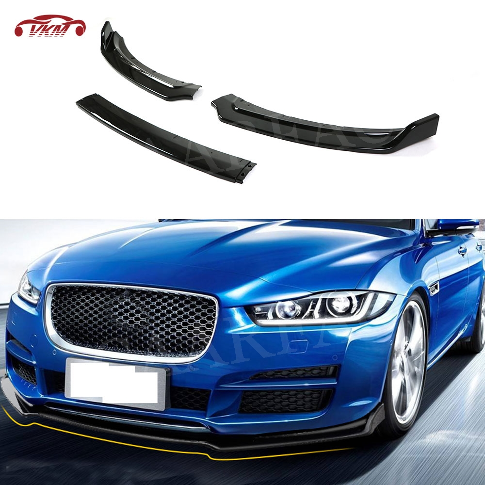 3 PCS/Set Car Front Bumper lip Spoiler Gloss Black for Jaguar XE 2017-2018 Auto Exterior Parts ABS Head Chin Cover Trim