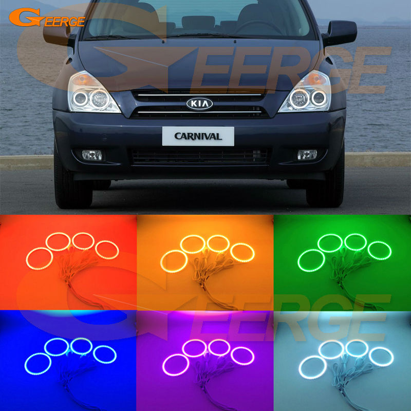 For Kia Carnival 2006 2007 2008 2009 2010 2011 2012 2013 2014 Excellent Multi-Color Ultra bright RGB LED Angel Eyes kit for lifan 620 solano 2008 2009 2010 2012 2013 2014 excellent angel eyes multi color ultra bright rgb led angel eyes kit