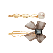 CHIMERA 2pcs/set Simple Bow Hair Pins Elegant Metal Clips with Beads Pearl Crystal Barrette Hairgrips for Women Lady Girls