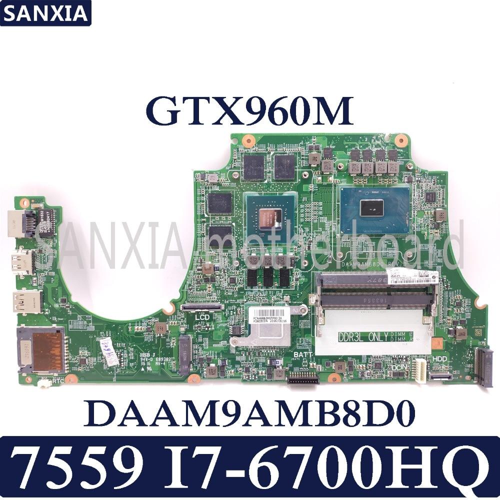 KEFU DAAM9AMB8D0 Laptop motherboard for Dell Inspiron 7559 Test original mainboard I7 6700HQ GTX960M