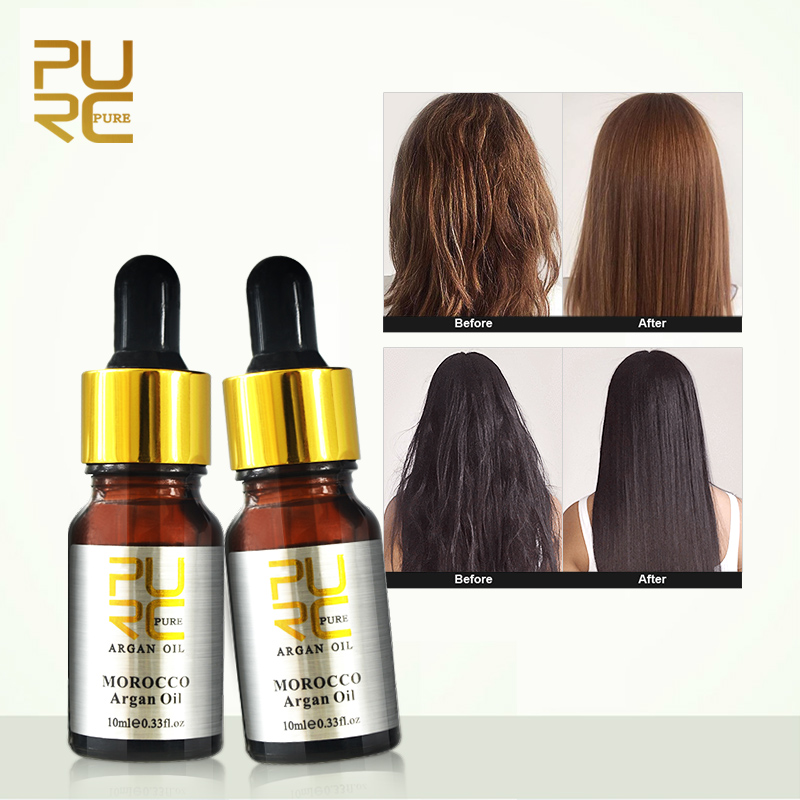 Moroccan pure argan oil for hair care 2 pcs 10ml Hair Oil treatment for all hair types Hair Scalp Treatment 11.11 cheap price
