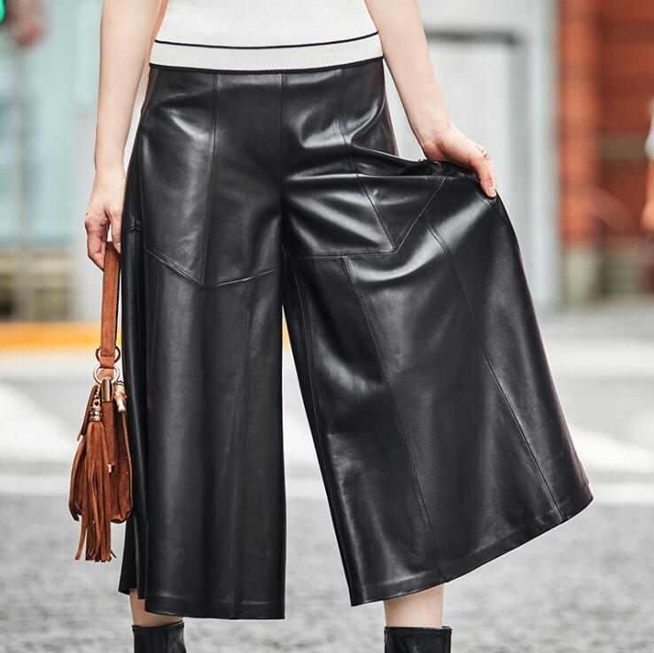 Women Genuine Natural Leather   Wide     Leg     Pants   E1028-003