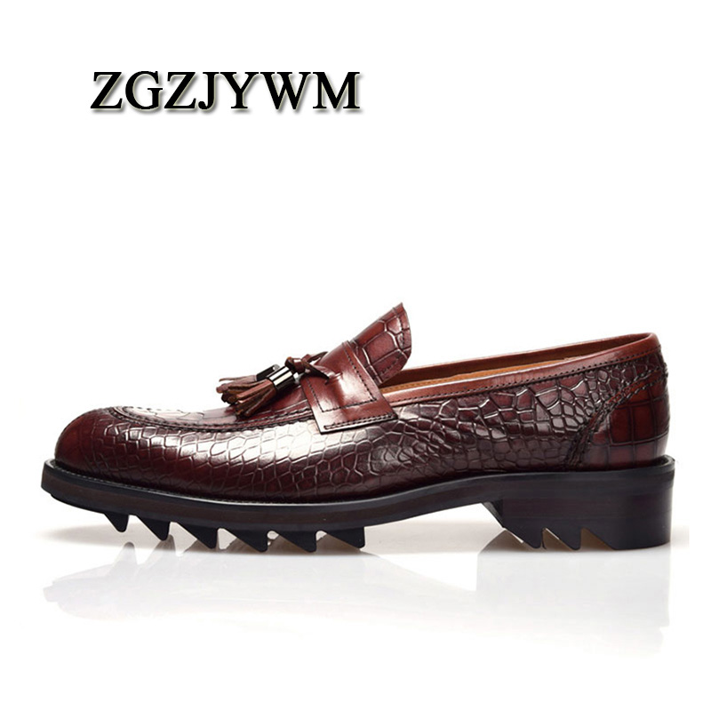 ZGZJYWM Men's British Style Genuine Crocodile Pattern Leather Pointed Toe Lace-Up Cowhide Dress Wedding Flat Oxford Men Shoes
