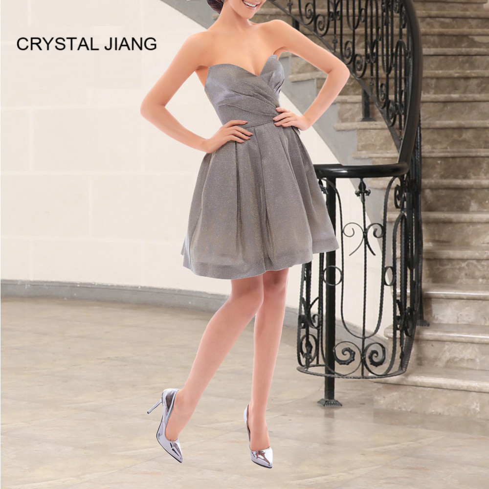 Crystal Jiang 2019 New Arrival Sweetheart A Line Sequin Short Dress Custom Made Knee Length Silver Formal Cocktail Party Gown Weddings & Events
