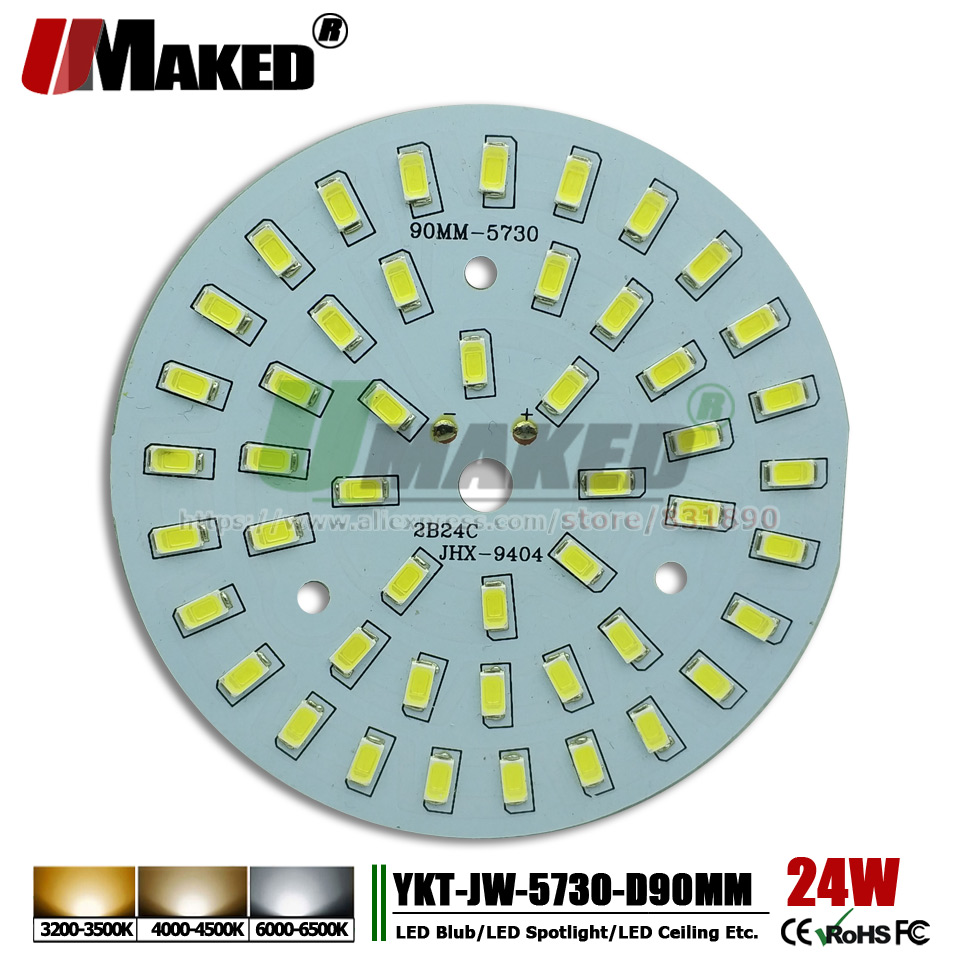 UMAKED 24W 90mm SMD 5730 LED PCB Bulb Lamp Spotlight DIY LED Source Install Light Chips Aluminum Lamp plate Warm/Natural/White 36w round 5730 smd led chip light bulb ceiling lamp diy aluminum plate light round panel no dark areas board ac110v 240v