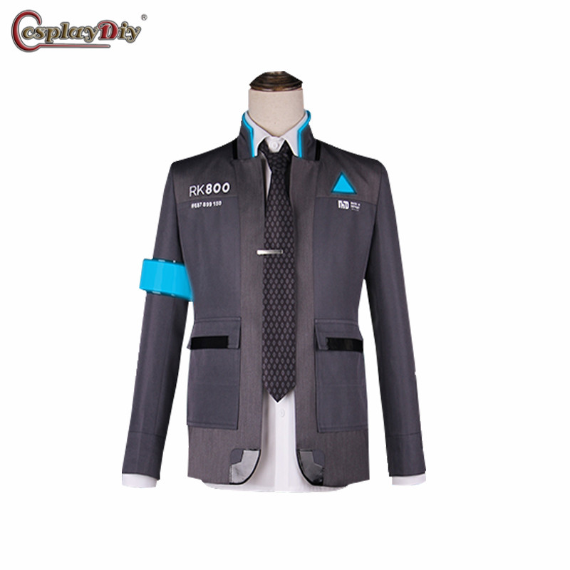 Game Detroit: Become Human Cosplay RK800 Connor Costume Uniform For Adult Men Coat Jacket Suit White Shirt Tie Halloween Outfits
