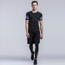 D31 Колготки для новорождённых мужчины с короткими рукавами Спортивная одежда для фитнеса из трех частей быстро сохнет одежда для фитнеса/Штаны Training бег костюм