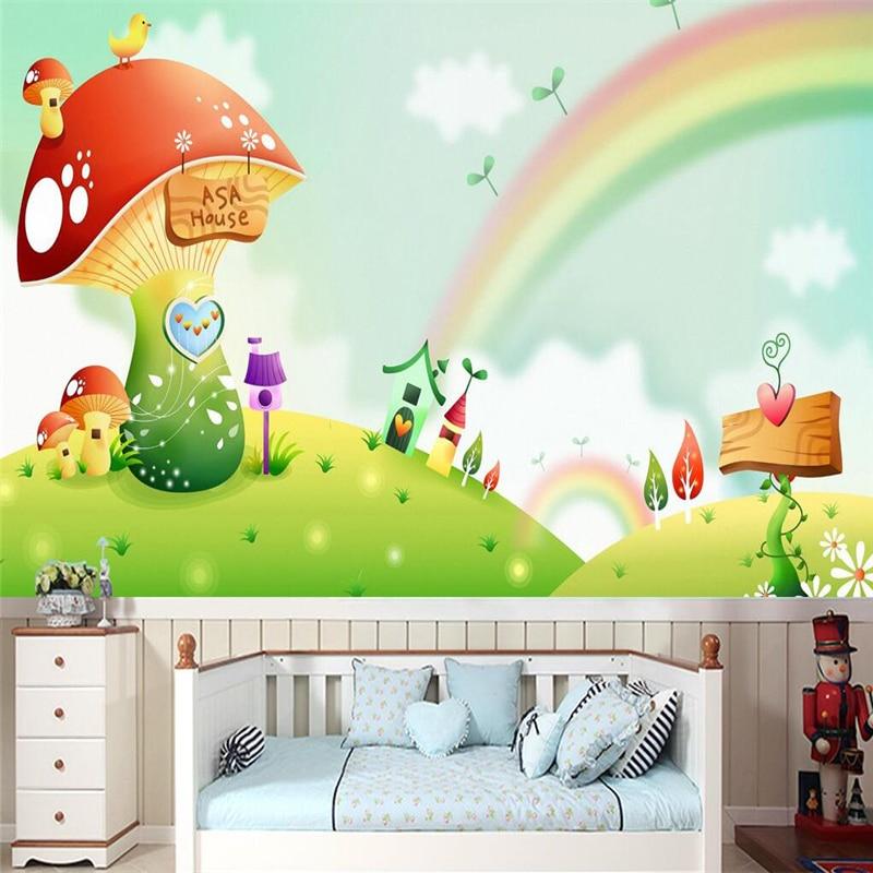 Beibehang 3 d custom wallpaper Mushroom hand-painted cartoon children's room sofa rainbow photo wallpaper mural papel de parede beibehang custom photo floor painted