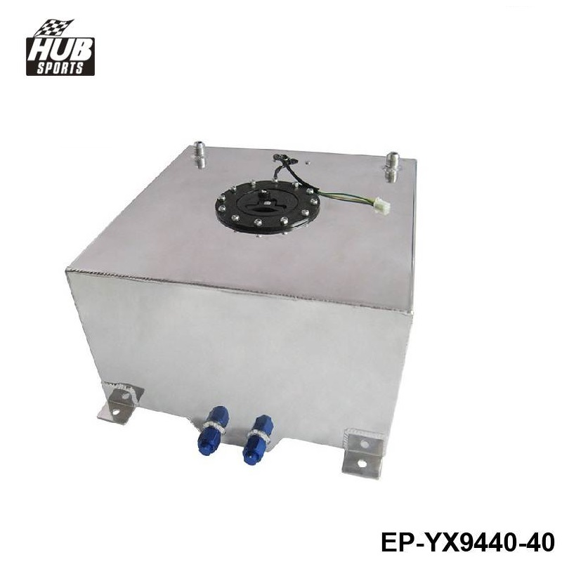 40L Aluminium Fuel CELL TANK polished Twin AN-10 outlets 10 Gal HU-YX9440-40 lzone racing black aluminium fuel surge tank with cap foam inside fuel cell 40l without sensor jr tk21bk