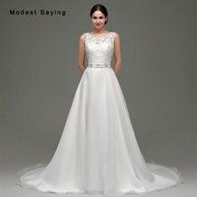 modest saying Elegant Ivory A-Line Wedding Dresses 2017