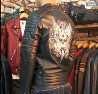 Free Shipping 2017 New Brand Clothing Plus Size Black Men Skull Leather Jackets Men S Genuine
