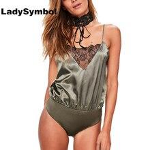Ladysymbol Sexy Satin Slip Кружева Боди женские комбинезон лето V Средства ухода за кожей шеи спинки Элегантный Розовый Повседневная pysuit женщин общая