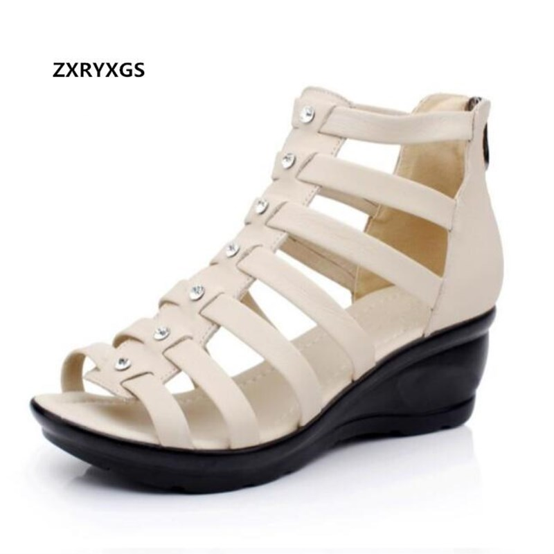 Newest Rhinestone Real Leather Shoes Woman Wedges Sandals 2019 Light Comfort Summer Fashion Casual Women