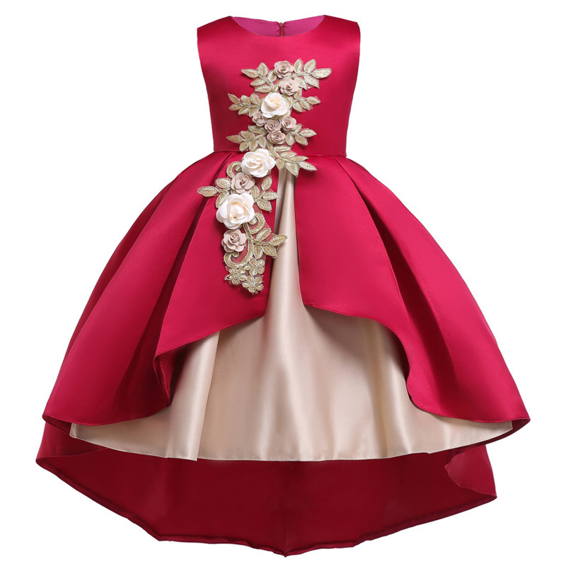 2019 new trailing   flower     girl     dresses   kids princess party   dress   child show catwalk   dress   children's clothing baby tutu costume