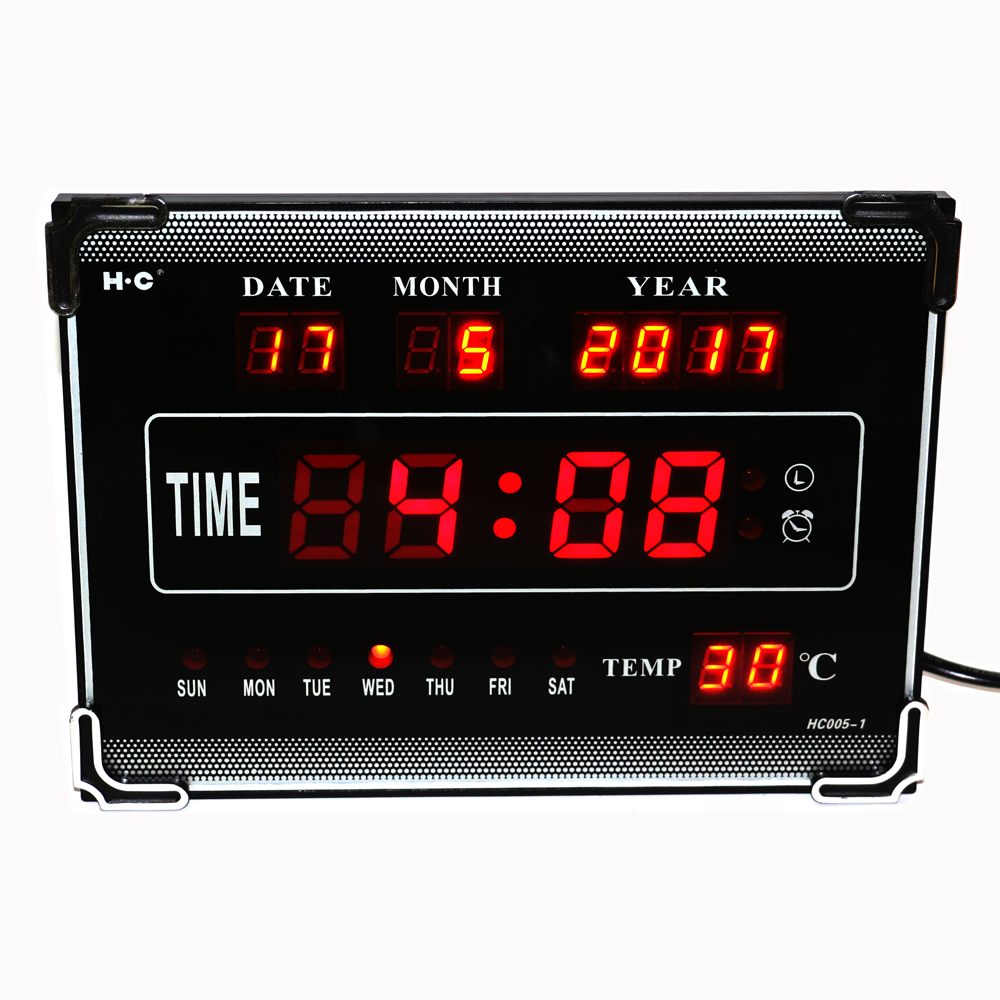 Hourly Chime LED Digitale Wandklok met Kalender Week Datum Temperatuur Desktop Elektrische Wekker Woondecoratie Rood