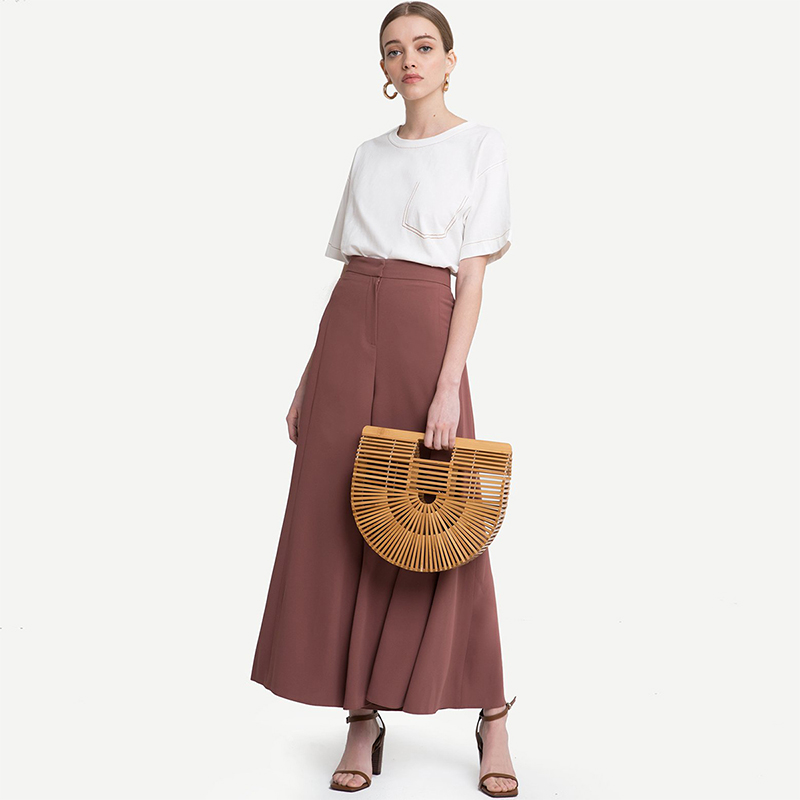 HDY Haoduoyi Woman 2019 New High Waist Wide Leg Loose Pants Solid Office Lady Brief Trousers For Female 5