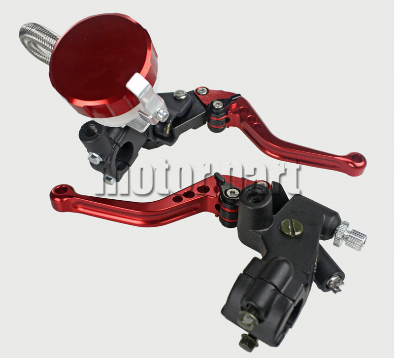 Red Universal 22mm 7/8 Handlebar Adjustable CNC Brake Clutch Levers Master Cylinder Kit With Fluid Oil Reservoir Set For Ducati motorcycle racing cnc adjustable brake master cylinder fluid reservoir levers kit green 7 8 22mm for 2010 buell xb12sx 8 kolben
