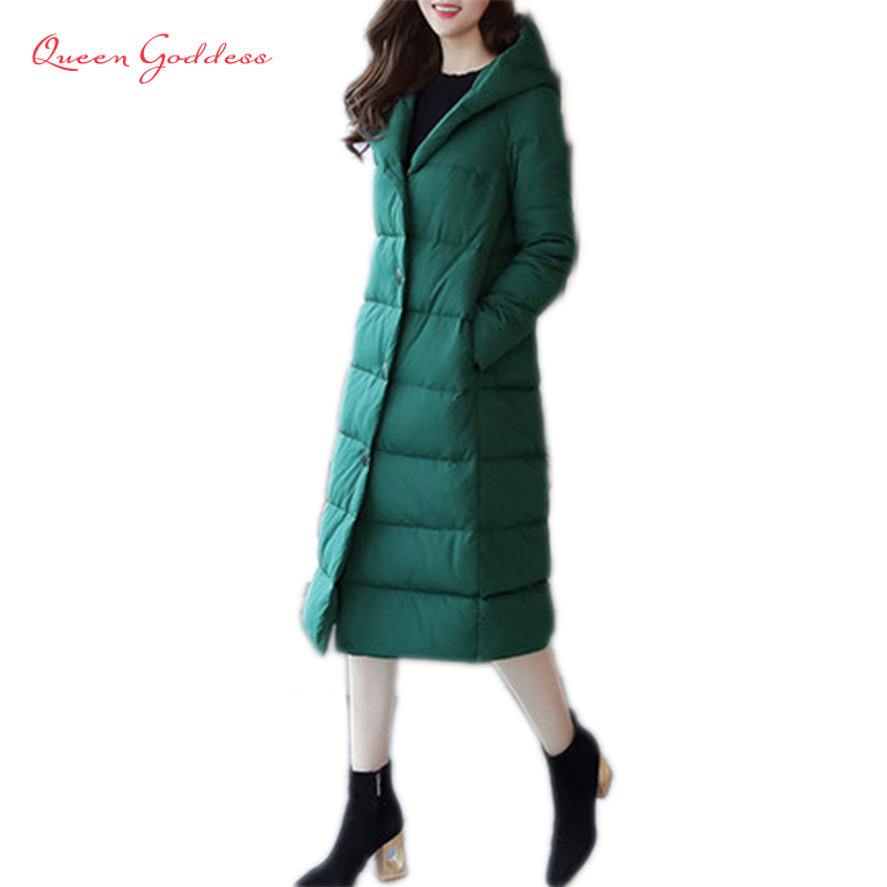New list X-Long solid color Slim style winter womens 90% white duck down jacket has hooded loose plus size warm causal parkas