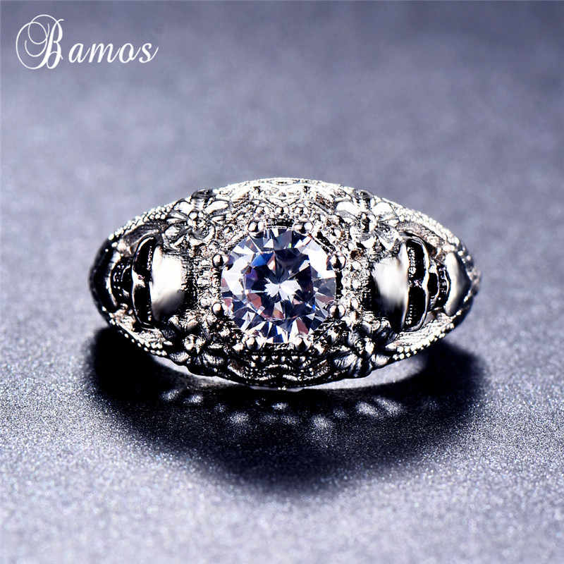 Estábamos cráneo gótico anillos para los hombres las mujeres exquisito dedo CZ anillo Vintage oro blanco lleno de ética accesorios para fiesta, joyería