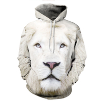 Autumn Winter 3D Lion Print Men Women Hoodies Hooded Cap Unisex Sweatshirts Mens Womens Windbreaker Jacket