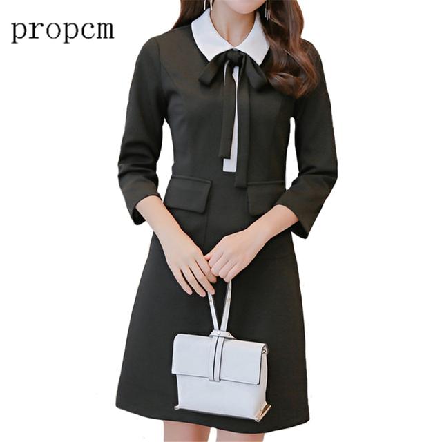 Propcm marca 2017 nuevas mujeres de la manera dress primavera de manga larga una Línea Linda Chica Corea Del Arco Negro Delgado Del Club Del Partido vestidos